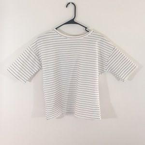Tops - Black & White Striped Short Sleeve Tee